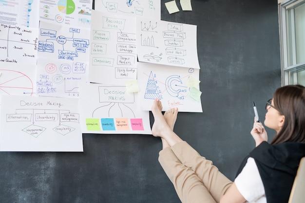 Giovane imprenditrice a piedi nudi seduto davanti alla lavagna e analizzando i diagrammi di flusso sui documenti in ufficio