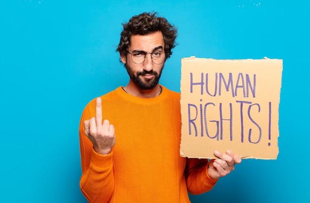 Concetto di diritti umani del giovane uomo barbuto