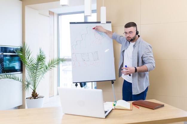 Giovane uomo d'affari in abiti casual che indossa una presentazione della riunione online auricolare o formazione utilizzando una webcam portatile e una lavagna a fogli mobili