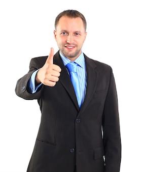 Giovane uomo d'affari che va pollice in su, isolato su bianco