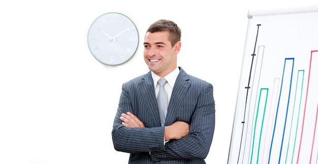 Giovane uomo d'affari con le braccia conserte facendo una presentazione