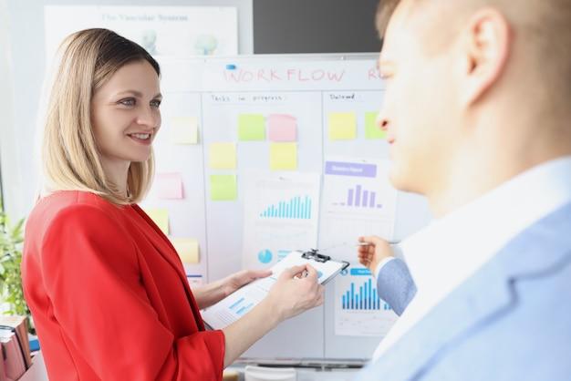 La giovane donna d'affari e l'uomo conducono una formazione aziendale sull'analisi della strategia di sviluppo aziendale