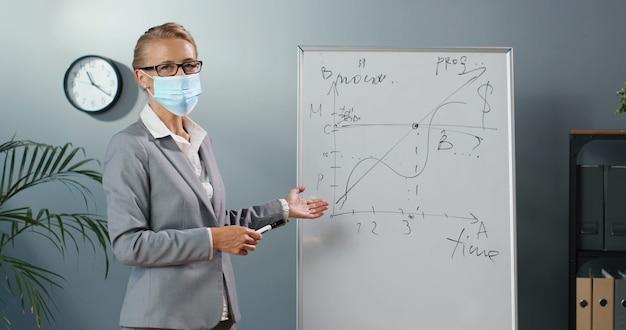 Insegnante di giovane donna caucasica in maschera medica in piedi a bordo in aula e raccontando le leggi della fisica o della geometria alla classe. concetto di pandemia. scuola durante il coronavirus. lezione educativa.