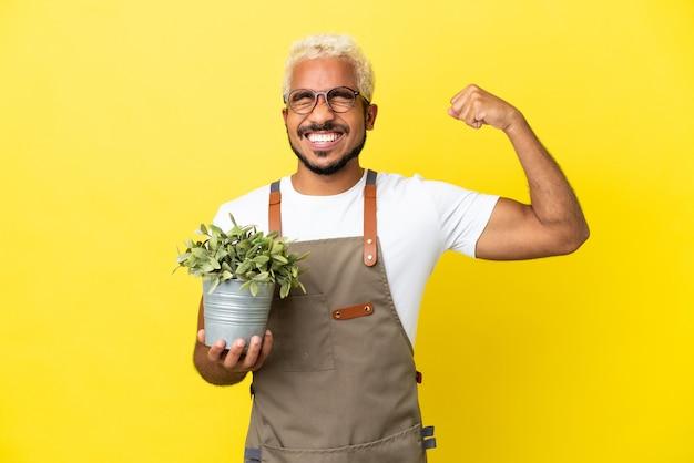 Giovane uomo colombiano che tiene una pianta isolata su sfondo giallo che fa un gesto forte