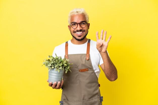 Giovane uomo colombiano che tiene una pianta isolata su sfondo giallo felice e conta quattro con le dita