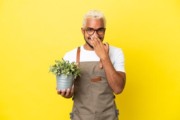 Giovane uomo colombiano che tiene una pianta isolata su sfondo giallo felice e sorridente che copre la bocca con la mano