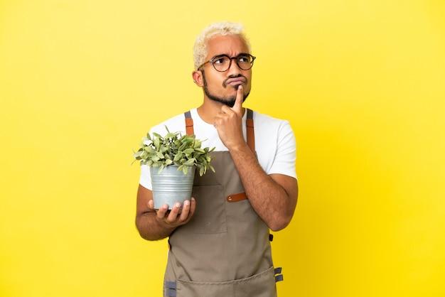 Giovane uomo colombiano in possesso di una pianta isolata su sfondo giallo che ha dubbi mentre guarda in alto