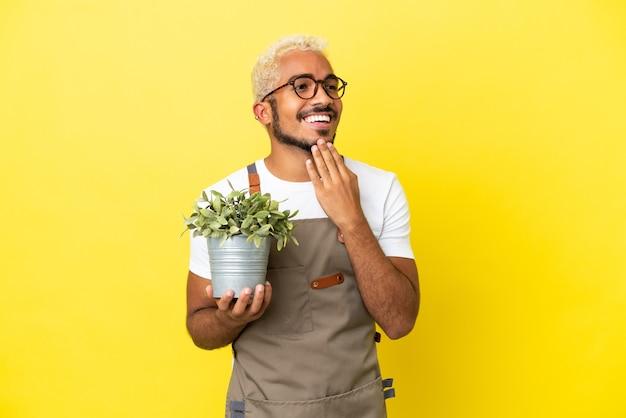 Giovane uomo colombiano in possesso di una pianta isolata su sfondo giallo guardando in alto mentre sorride