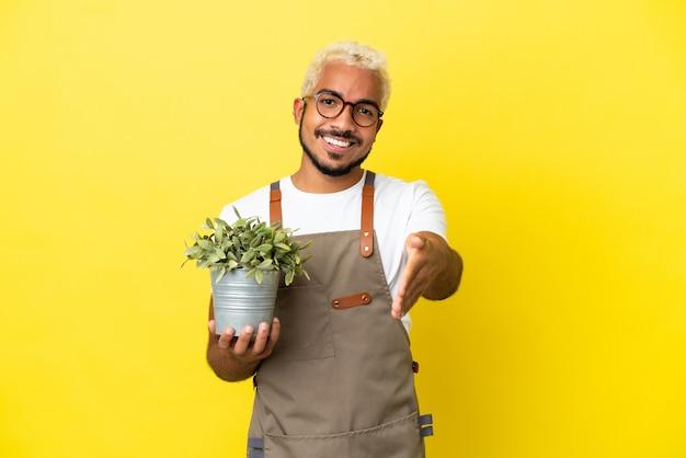 Giovane uomo colombiano in possesso di una pianta isolata su sfondo giallo che stringe la mano per aver chiuso un buon affare