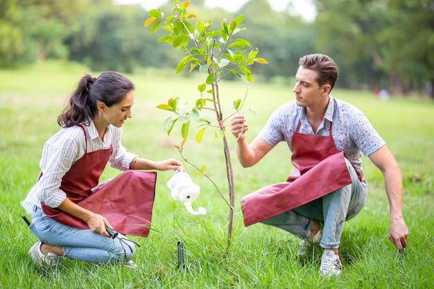 Giovane coppia di volontari che piantano un nuovo albero nel parco