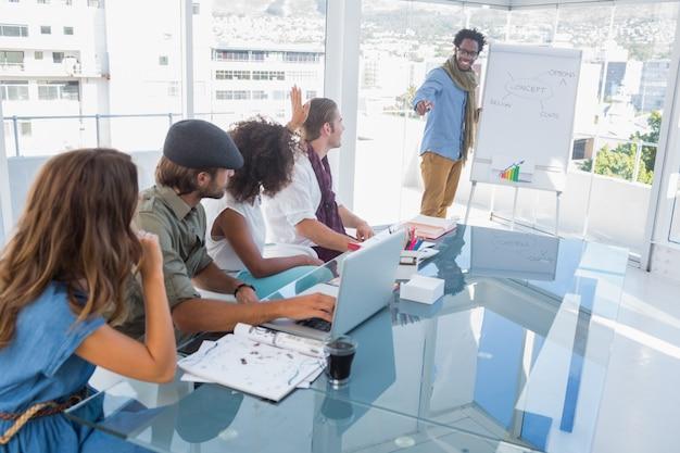 Giovane designer che presenta un diagramma di flusso durante una riunione
