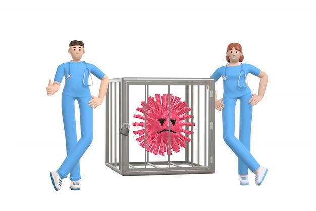 I giovani medici hanno sconfitto il virus e lo hanno rinchiuso in una gabbia. personaggio dei cartoni animati divertente e spaventoso della molecola di sars. stop alla malattia, pandemia, influenza, coronavirus isolato su uno sfondo bianco. rendering 3d
