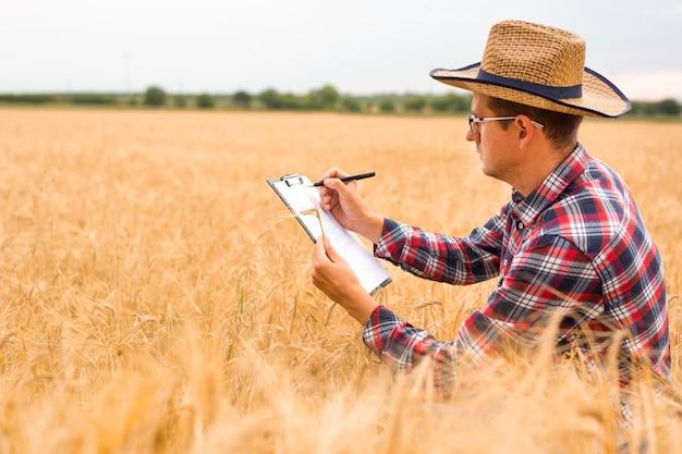 Giovane agricoltore che scrive su un documento il piano di sviluppo del grano. agricoltore che controlla il campo di grano