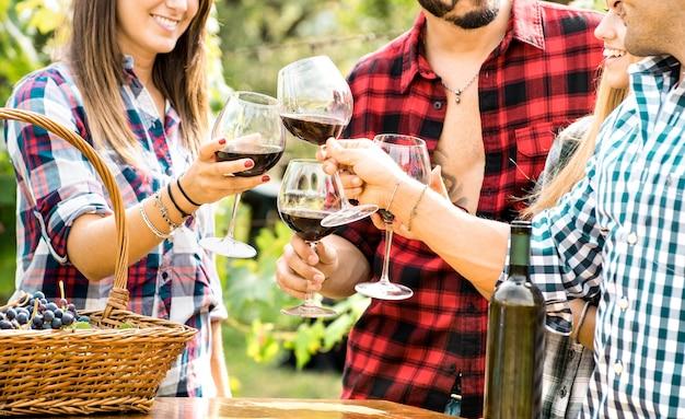 Giovani amici che si divertono all'aperto facendo tintinnare bicchieri di vino rosso