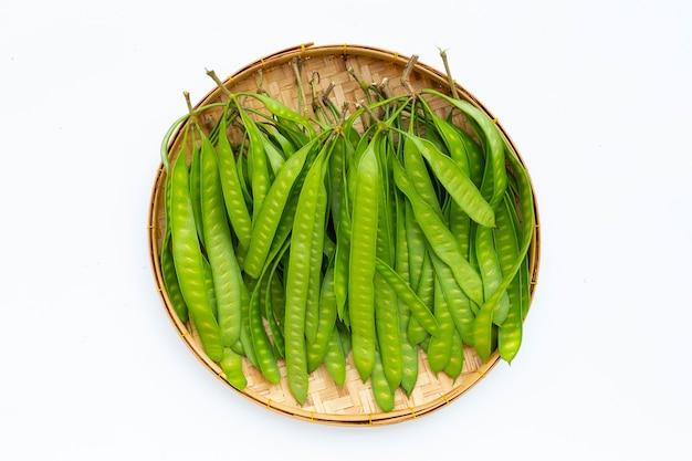 Giovani frutti di leucaena leucocepphala in cesto di bambù su sfondo bianco.