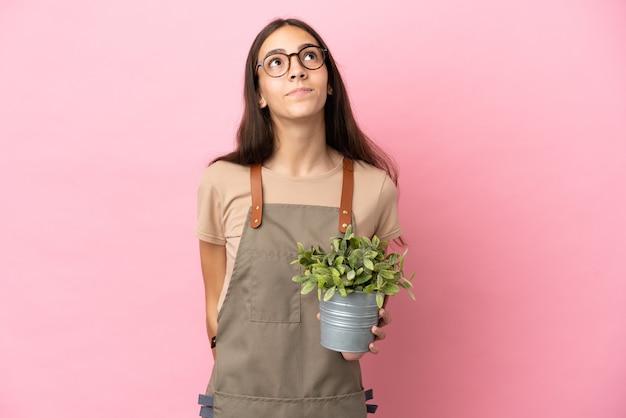Giovane ragazza del giardiniere che tiene una pianta isolata su fondo rosa e che guarda in su