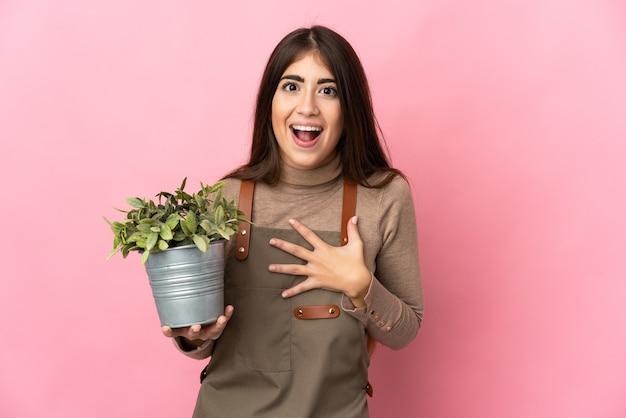 Giovane ragazza del giardiniere che tiene una pianta isolata sul muro rosa sorpreso e scioccato mentre guarda a destra