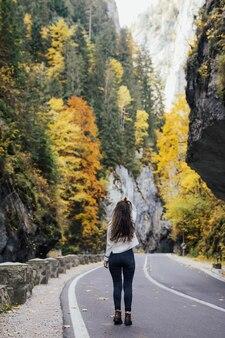 Giovane ragazza in piedi sulla strada in montagna. vista posteriore.