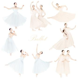 Giovani ballerini aggraziati o ballerine classiche su priorità bassa bianca. bella danza della donna in due colori. il concetto di grazia, artista, contemporaneo, movimento. disegno astratto. collage creativo.