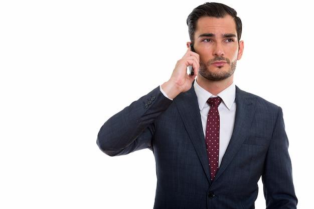 Giovane imprenditore bello pensare mentre parla