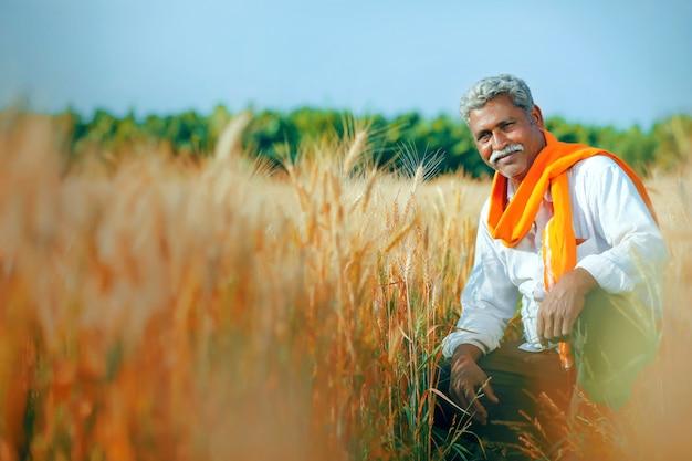 Giovane agricoltore indiano al campo di grano dorato