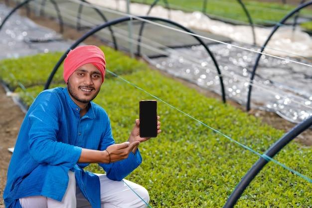 Giovane agricoltore indiano che mostra smart phone in poli casa o serra