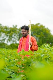 Giovane agricoltore indiano che sta nel campo di agricoltura del cotone.