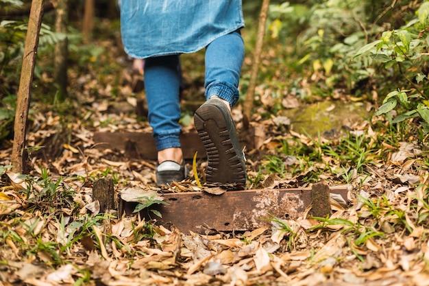 Giovane maschio backpacker escursionismo da solo nella foresta