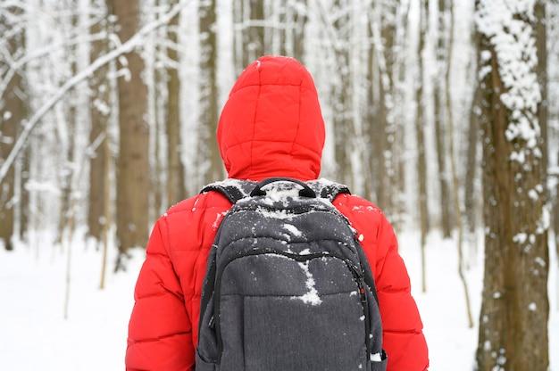 Giovane uomo in una giacca rossa con cappuccio e zaino in una foresta o in un parco di inverno nevoso, vista posteriore dal retro