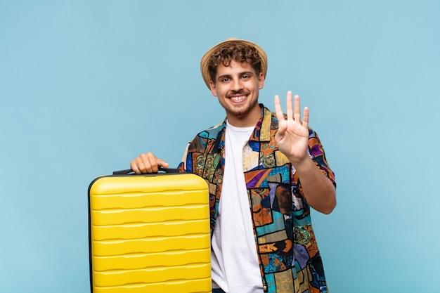 Giovane che sorride e sembra amichevole, mostrando il numero quattro o quarto con la mano in avanti, contando alla rovescia. concetto di vacanze