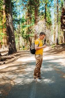 Un giovane con uno zaino cammina nel pittoresco sequoia national park usa