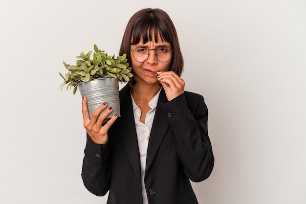 Giovane donna di affari della corsa mista che tiene una pianta isolata su fondo bianco con le dita sulle labbra che tengono un segreto.