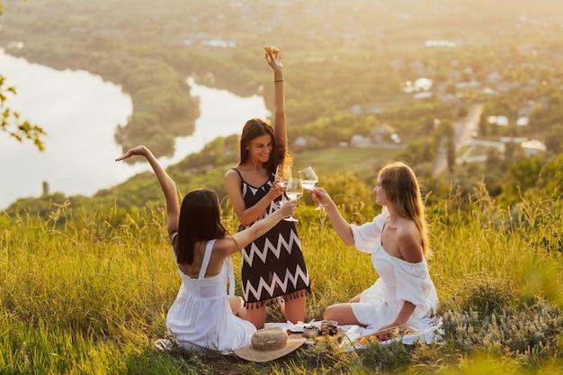 I giovani hanno picnic estivo e mangiano e bevono vino bianco insieme seduti sulla cima della montagna.