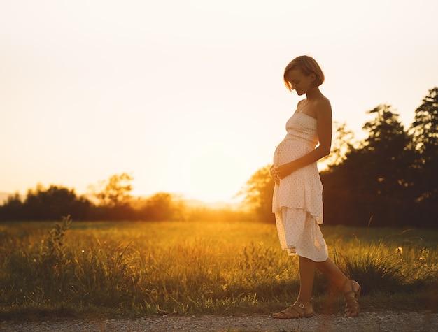 La giovane donna incinta tiene le mani sulla pancia sullo sfondo della natura