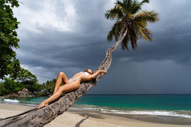 Giovane donna sexy in bikini sdraiato sulla palma sulla spiaggia con il mare sullo sfondo. concetto di vacanza e viaggio.