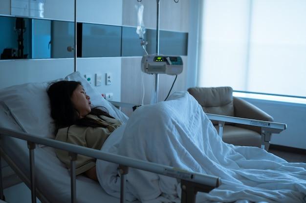 Giovane donna paziente asiatica malata che si trova sul letto nel reparto di ospedale
