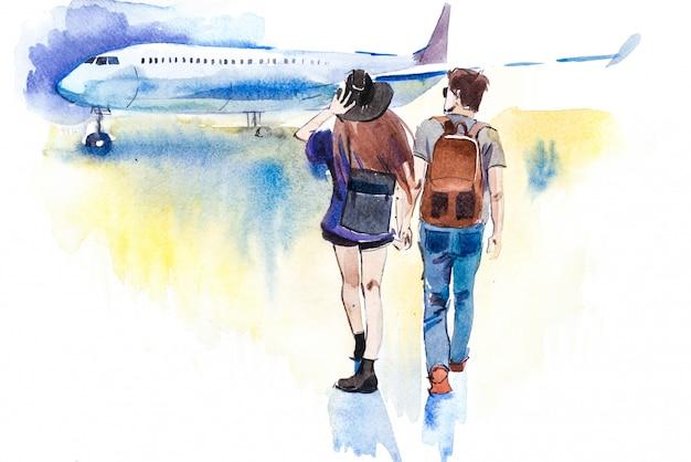 Giovani coppie dei viaggiatori che vanno all'illustrazione dell'acquerello dell'aeroplano