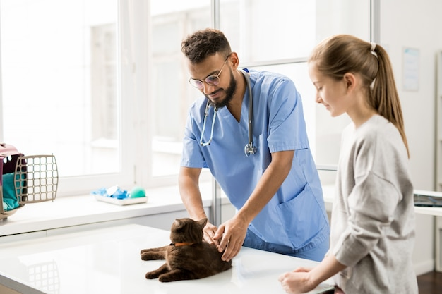 Giovane veterinario in uniforme blu coccole gatto sul tavolo prima di esaminarlo con il suo proprietario vicino