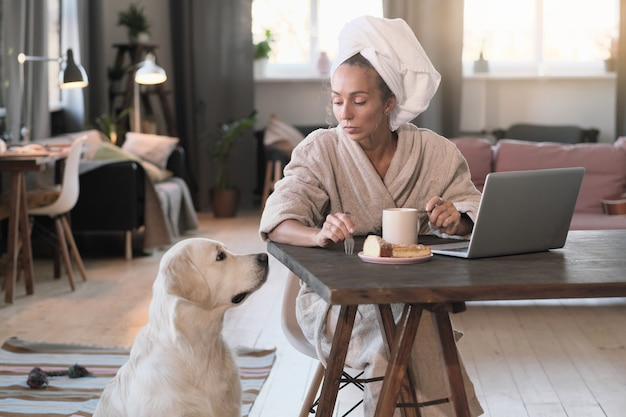 Giovane donna in accappatoio facendo colazione sul posto di lavoro e parlando con il suo cane in camera