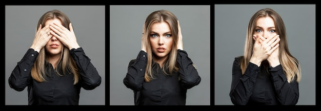 La giovane donna si coprì gli occhi, la bocca e le orecchie con le mani. bella bionda in una camicia nera. collage, insieme. sfondo grigio. formato panoramico.