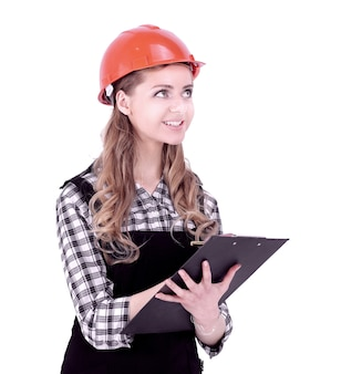 L'ingegnere della giovane donna ha firmato il documento. isolato su priorità bassa bianca