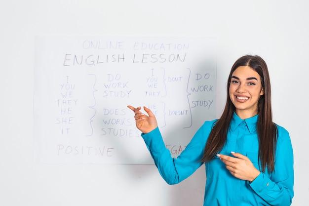 Insegnante di inglese della giovane donna in piedi davanti a una lavagna che dà una lezione online alla telecamera. istruzione a casa in auto isolamento durante il blocco della quarantena.