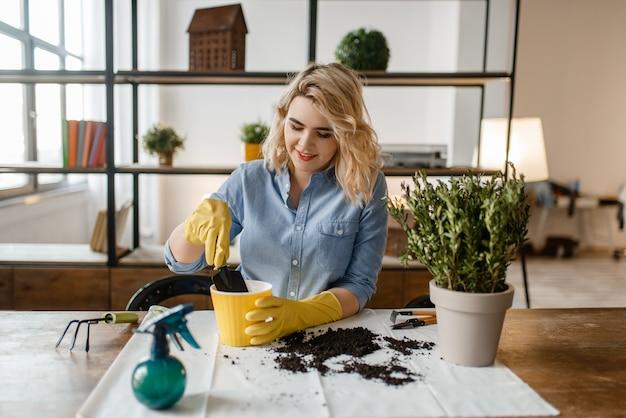 Giovane donna in guanti seduto al tavolo e cambia il terreno nelle piante domestiche, hobby fiorista.