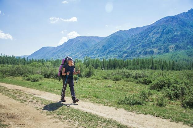 Viandante della giovane donna con lo zaino e pali di trekking un giorno soleggiato sulla traccia di montagna