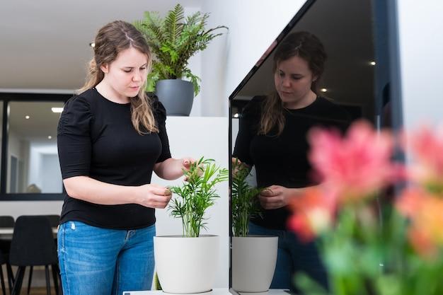 Giovane donna che mette piante nella sua nuova casa, vita domestica, decorazione domestica.