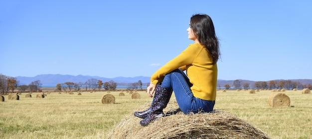 Giovane donna seduta in cima al pagliaio in campo e guardando lontano