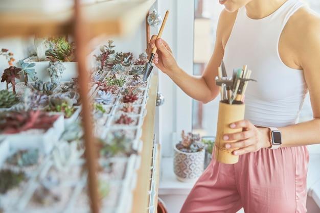 La giovane donna si prende cura di bellissime piante d'appartamento in piedi accanto allo scaffale in una stanza luminosa