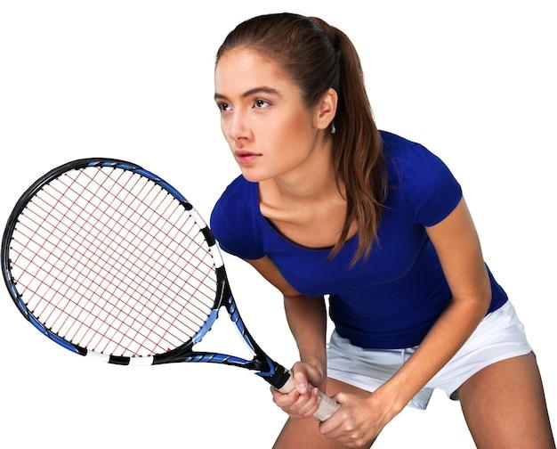 Giocatore di tennis della giovane donna che tiene la sua racchetta