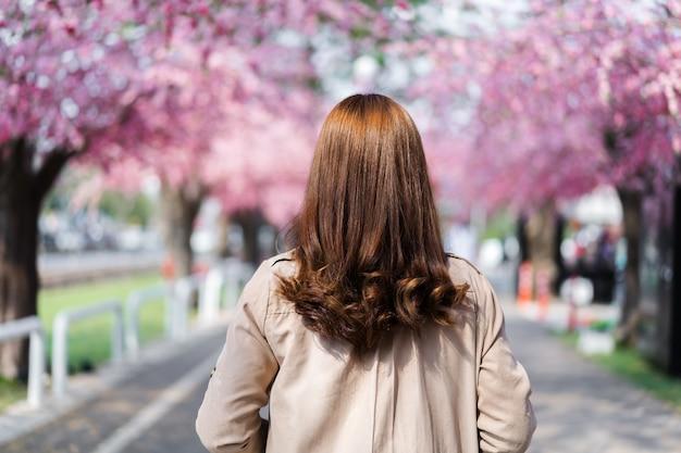 Viaggiatore della giovane donna alla ricerca di fiori di ciliegio o fiore di sakura che sboccia nel parco
