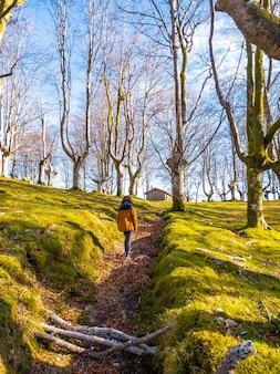 Una giovane donna che cammina lungo il sentiero della faggeta di oianleku, nella città di oiartzun, gipuzkoa. paesi baschi